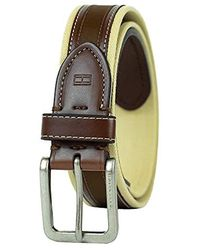 Tommy Hilfiger Ribbon Inlay Belt - Fabric Belt With Single Prong Buckle - Brown