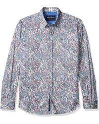 Robert Graham Laramy Tailored-fit Graphic Print Sport Shirt - Blue