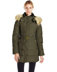 Jones New York 32 Inch Down Coat With Belt And Side Panels - Green