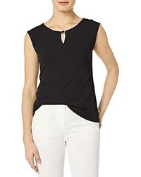 Calvin Klein Sleeveless Tops With Hardware - Black