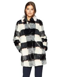 Armani Jeans - Eco Fur Checkered Coat - Lyst