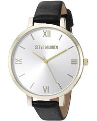 Steve Madden Quartz Watch With Leather-synthetic Strap - Black
