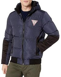 Guess Hooded Mixed Media Puffer With Large Triangle - Blue