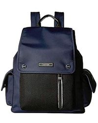 Calvin Klein Tali Nylon Mesh Organizational Flap Backpack - Blue