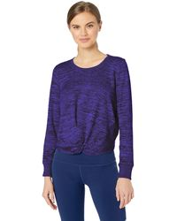Marc New York Marled Sweater Knit Twist Front Top - Blue