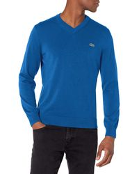Lacoste Long Sleeve V Neck Cotton Jersey Sweater - Blue