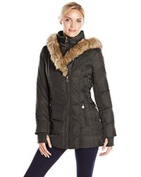 Betsey Johnson - Mid-length Puffer Coat With Faux-fur Hood - Lyst