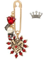 Betsey Johnson Heart Safety Pin Mismatch Earrings - Red