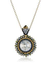 Miguel Ases Labradorite And Swarovski Crystal Pendant Necklace - Gray