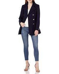 Calvin Klein Polished Wool Coat With Button Detail - Blue