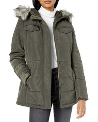 Lucky Brand Short Down Jacket With Faux Fur Hood - Green