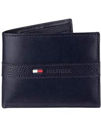 Tommy Hilfiger Mensthin Sleek Casual Bifold With 6 Credit Card Pockets And Removable Id Window Wallet - Blue