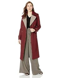 Badgley Mischka - Cotton Mid Length Trench Coat With Plaid Print Lapels - Lyst