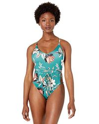 BCBGMAXAZRIA Crossback Strappy Tie Front Open Side One Piece Swimsuit - Green