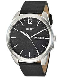 DKNY Gansevoort Stainless Steel Quartz Watch With Leather Strap, Black, 21.8 (model: Ny1604)