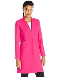 MILLY Doubleface Wool Slim Coat - Pink