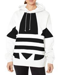 adidas Originals Cropped Large Logo Hoodie - Black