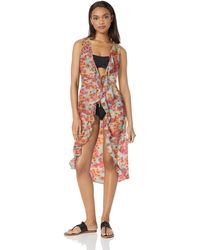 Kenneth Cole Reaction Front Tie Beach Cover Up - Pink