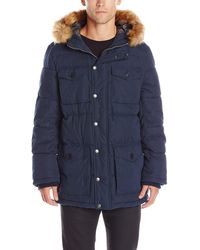 Tommy Hilfiger Micro Twill Full-length Hooded Parka Coat - Blue