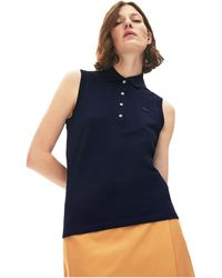 Lacoste Classic Sleeveless Slim Fit Polo - Blue