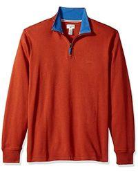 Dockers Interlock Quarter Zip Long Sleeve Sweater - Orange