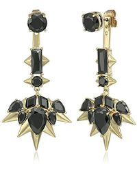 Noir Jewelry - Blizzard Gold And Black Drop Earrings - Lyst