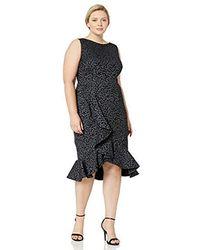 Calvin Klein - Plus Size Sleeveless Midi Sheath With Ruffle Hem Dress - Lyst