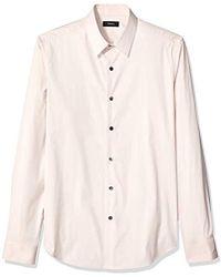 Theory Sylvain Wealth Cotton Stretch Sportshirt - Pink
