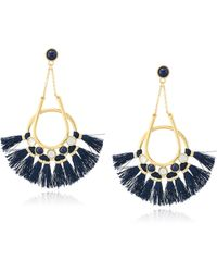 Rebecca Minkoff - Utopia Tassel Chandeliers Gold/navy Tassels Drop Earrings - Lyst