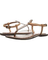 d1fc8c905 Lyst - Sam Edelman Gigi Leather Flat Sandal in Pink