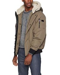 Sean John Ultra Warm Bomber Jacket With Sherpa Trim Hood - Natural