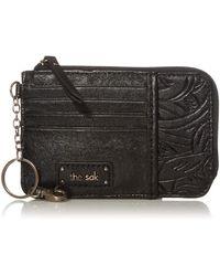 The Sak Womens S Iris Leather Card Wallet - Black