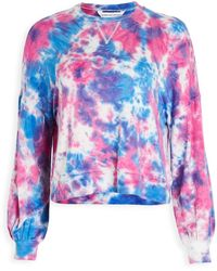 Cupcakes And Cashmere Gracey Tie Dye French Terry Long Sleeve Pullover - Blue