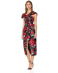 C/meo Collective Methodical Asymmetric Sheath Midi Dress With Bow Detail - Multicolor