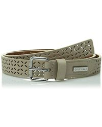 Cole Haan Chrunken Glove Panel Belt With Perforation - Green