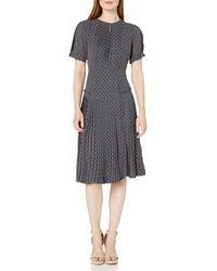 Dear Drew by Drew Barrymore Elizabeth St Short Sleeve Pleated Dress - Multicolor