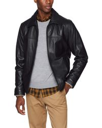 Tommy Hilfiger Stand Collar Classic Leather Jacket - Black