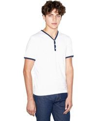 American Apparel 50/50 Henley Ringer V-neck Short Sleeve T-shirt - White