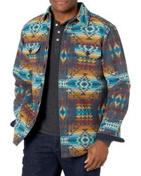 Pendleton Jacquard Cpo Wool Shirt Jacket - Blue