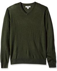 Goodthreads Marca Amazon – – Jersey de lana merino con cuello en V para - Verde