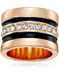 """Guess - """"basic Jet And Gold Wide Band With Enamel And Stones Ring, Size 8 - Lyst"""