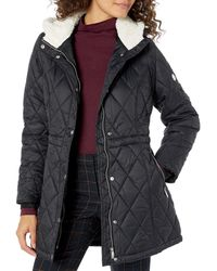 Steve Madden Quilted Anorak With Hood - Black