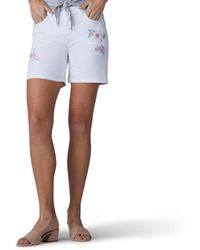 Lee Jeans Modern Series Midrise Fit Cora Embroidered Short - White