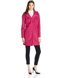 """Anne Klein - 34"""" Mid Length A-line Single Breasted Raincoat - Lyst"""