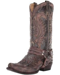 Stetson Outlaw Distressed Harness Boot - Brown