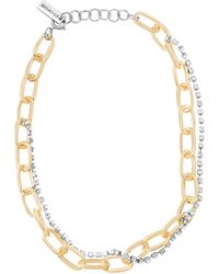Steve Madden Cable Chain And Rhinestone Two-tone Multi-strand Necklace - Yellow