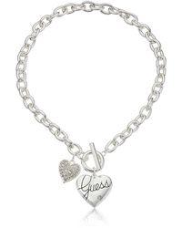 Guess Collier en argent avec pendentif en forme de cœur - Métallisé