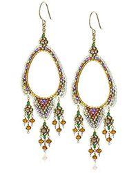 Miguel Ases - Topaz Quartz Lavender And Swarovski Open Center Chandelier Drop Earrings - Lyst