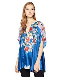 Johnny Was - Size Plus Short Sleeve Patterned Poncho Blouse - Lyst