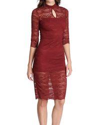 Kensie Midi Lace Dress - Red
